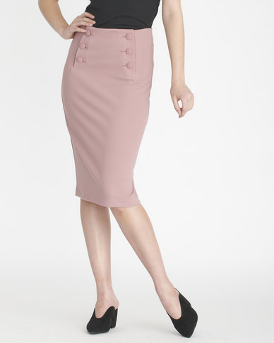 Contempo Skirt With Covered Button Detail Pink
