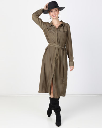 G Couture Silky Shirt Dress Olive