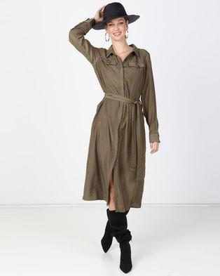 276d064d77 G Couture Silky Shirt Dress Olive