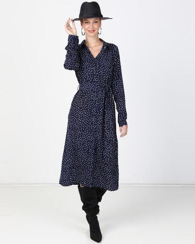 G Couture Spot Print Dress Navy