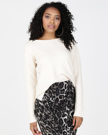 G Couture Wavy Pattern Fitted Knitwear Cream