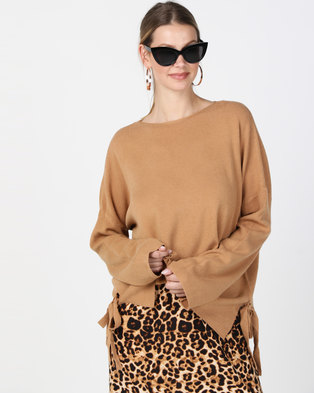 G Couture Loose Fit Side Ribbons Jumper Rust