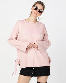 G Couture Loose Fit Side Ribbons Jumper Pink