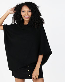 G Couture Crossed Neck Poncho Black