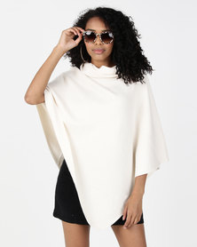 G Couture Crossed Neck Poncho Cream