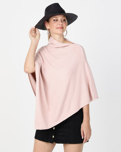 G Couture Lightweight Splitneck Poncho Pink