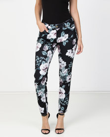 G Couture Floral Printed Stretch Pants Multi