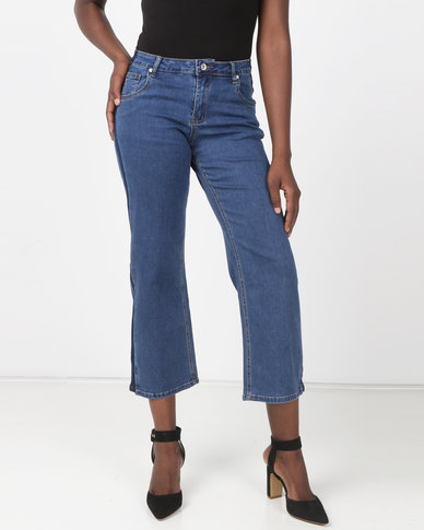 G Couture Cropped Palazzo Jeans Blue