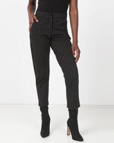 G Couture Knit Stripe Pants Black