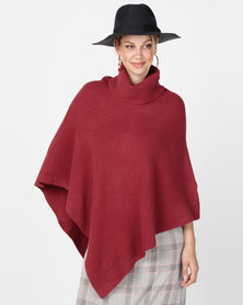 G Couture Poloneck Poncho Dark Red