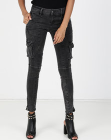 Vero Moda Cargo Slim Jeans Grey Denim