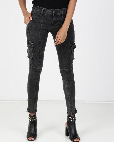 big sale 1c5bd 6f675 Vero Moda Cargo Slim Jeans Grey Denim