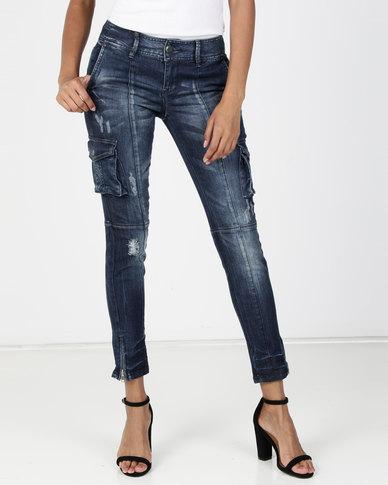 new product 6f30a c29e3 Vero Moda Cargo Slim Jeans Dark Blue Denim