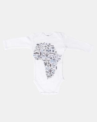 374023cb7e1 Home Grown Africa Icons White Long sleeve Vest Blue Print Multi