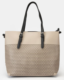 Bata Ladies Designed Casual Handbag Taupe
