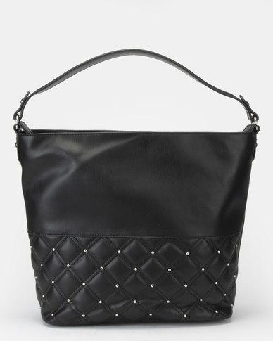 Bata Ladies Quilted Stud Black Handbag Black