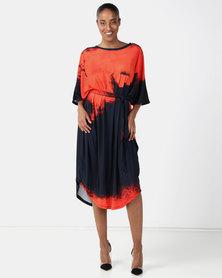 Michelle Ludek Ella Dress Orange Smudge Print