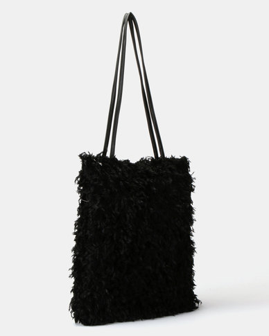 UB Creative Fur Handbag Black