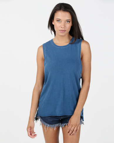 Hurley Solid Wash Biker Tank Blue Force