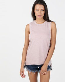 Hurley Solid Wash Biker Tank Particle Rose