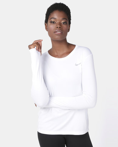 Nike Performance W NK MILER LS Top White