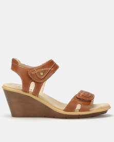 Step On Airs Fatima Leather Comfort Wedge Heels Brown