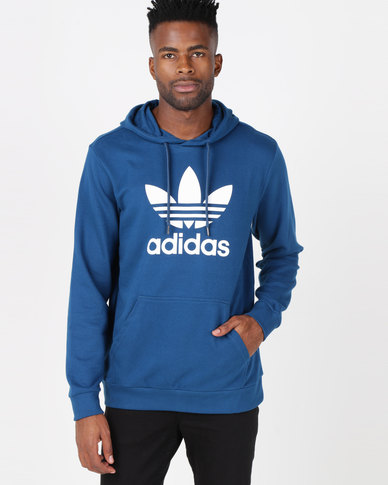adidas Originals Mens Trefoil Hoodie Blue