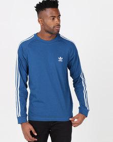 adidas Originals Mens 3 Stripe LS Tee Blue