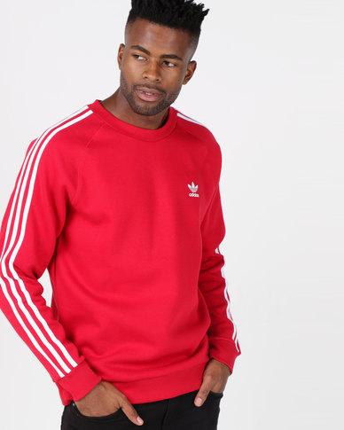 32575f6c7 adidas Originals Mens 3 Stripe Crew Red | Zando