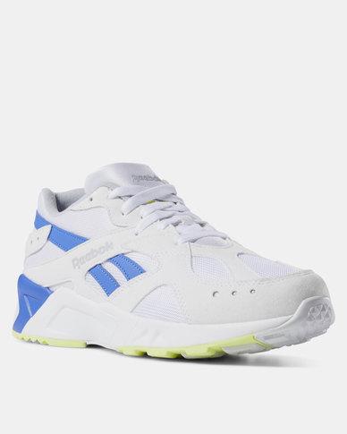 9b5ec5bb0e96 Reebok Aztrek Sneakers 90s White Cold Grey  Crushed Cobalt Neon Lime ...