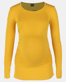 Cherry Melon Round Neck Top With Side Detail Ochre