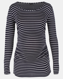 Cherry Melon Round Neck Top WIth Side Detail Navy/White