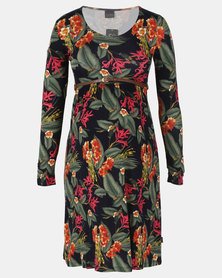 Cherry Melon Belted Scoopneck Dress Windsor Floral