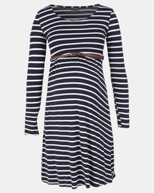 Cherry Melon Stripe Belted Scoopneck Dress Navy/White