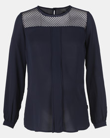 Cherry Melon Box Pleat Lace Inset Blouse Navy
