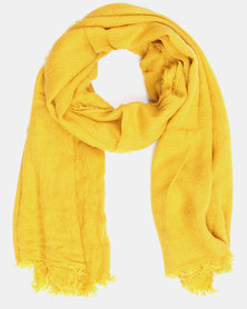 You & I Oversized Plain Fringed Scarf Mustard