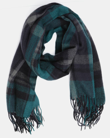 You & I Oversized Tasseled Check Scarf Emerald