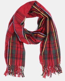 You & I Oversized Tasseled Check Scarf Red