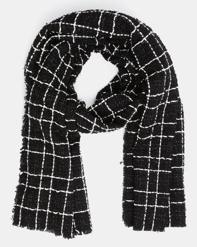 You & I Oversized Grid Pattern Scarf Black