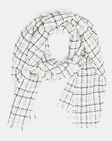You & I Oversized Grid Pattern Scarf White
