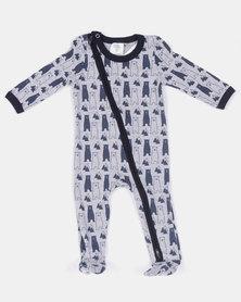 Home Grown Jumpsuit Zipper Bear Grey Melange