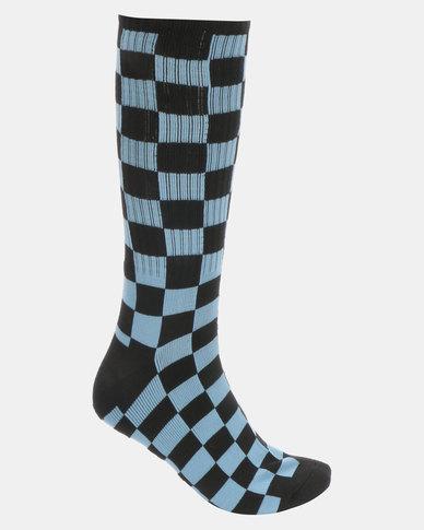 Vans Checkerboard Crew II Socks Blue-Black