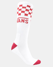 Vans Checker Crew Socks Red/White