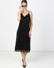 Paige Smith Pleated Slip with Lace Black