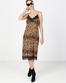 Paige Smith Pleated Slip with Lace Leopard