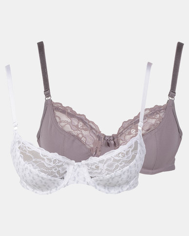 f15cc19bb Triumph 2 Pack Extended Sizes Everyday Basic Lace Underwire Bra Grey    Cream