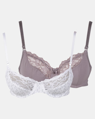 01f95730475 Triumph 2 Pack Extended Sizes Everyday Basic Lace Underwire Bra Grey   Cream
