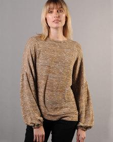 Marique Yssel Bishop Sleeve Sweatshirt - Gold Melange