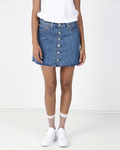 Levi's® Button Front Mini Skirt Blue