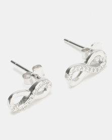 Silver Bird Sterling Silver CZ Infinity Stud Earrings Silver